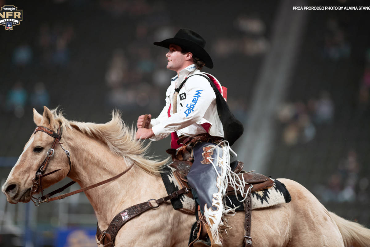 Bareback rider Cole Reiner competes at the National Finals Rodeo in Arlington, Texas. Photo cou ...