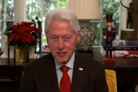"""Bill Clinton is shown on a screen grab during Tony Hsieh's """"LifeDay"""" celebration and livestream ..."""