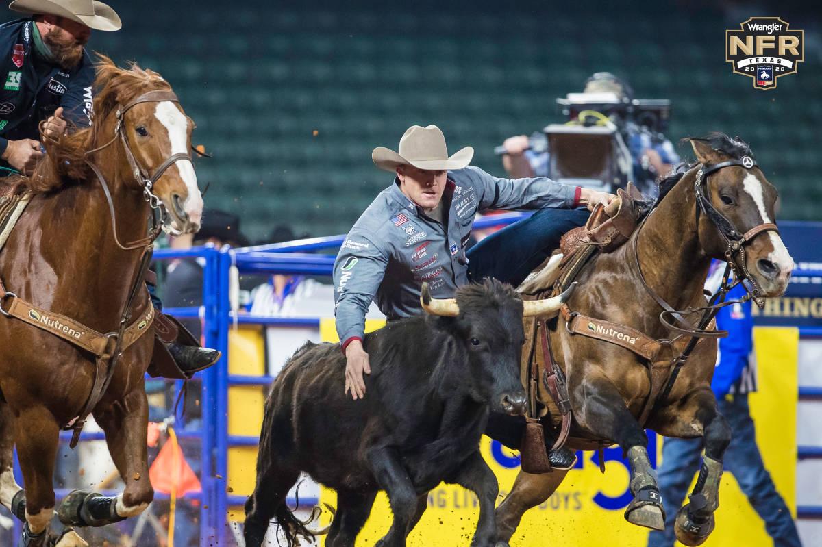 Steer wrestler Dakota Eldridge competes at this year's National Finals Rodeo in Arlington, Texa ...