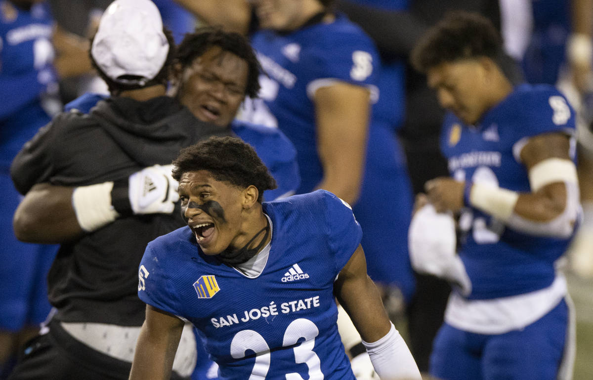 San Jose State Spartans cornerback Nehemiah Shelton (23) celebrates after defeating the Boise S ...