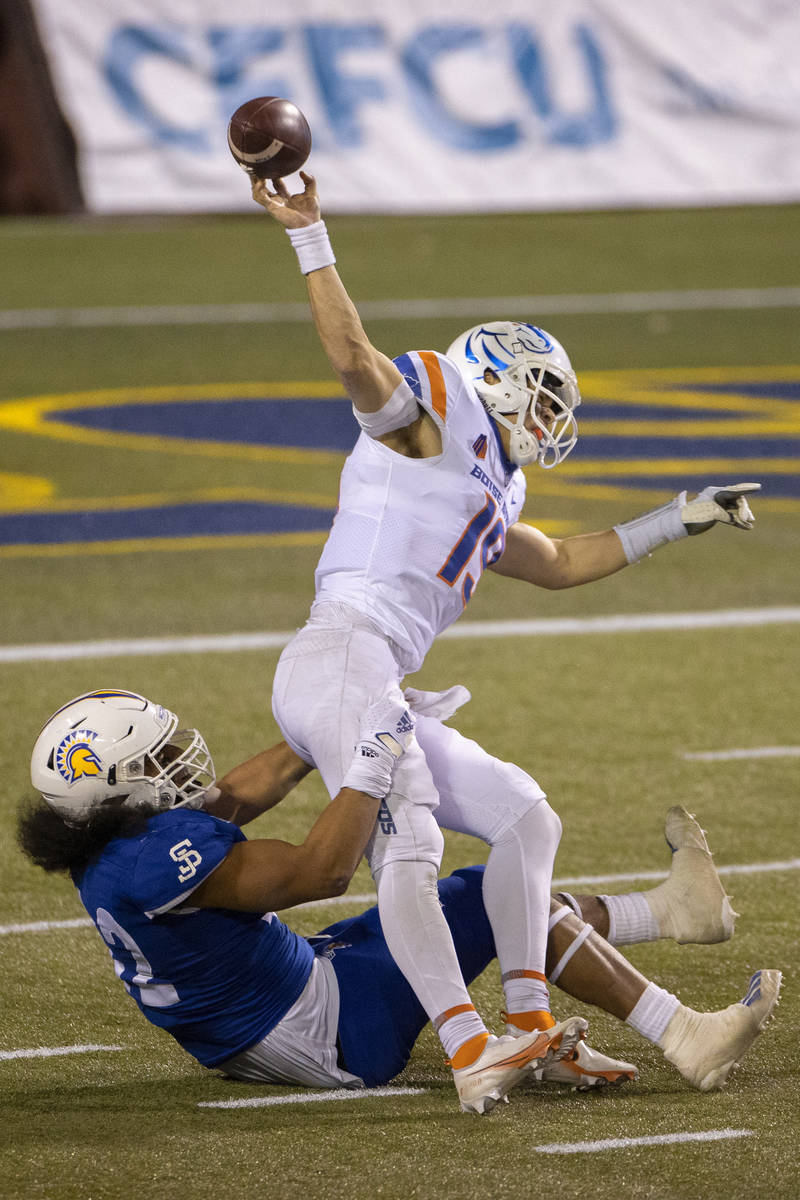 Boise State Broncos quarterback Hank Bachmeier (19) is tackled by San Jose State Spartans defen ...