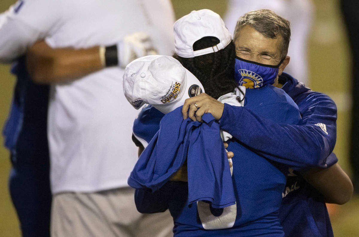 San Jose State Spartans head coach Brent Brennan celebrates after defeating Boise State at the ...