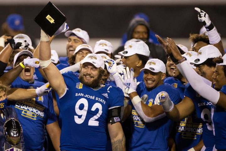 San Jose State Spartans defensive lineman Cade Hall (92) celebrates after defeating the Boise S ...