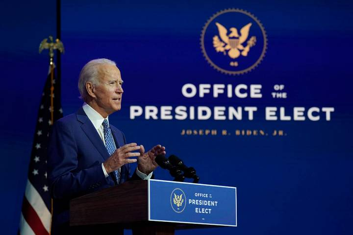 President-elect Joe Biden speaks at The Queen theater, Monday, Nov. 9, 2020, in Wilmington, Del ...