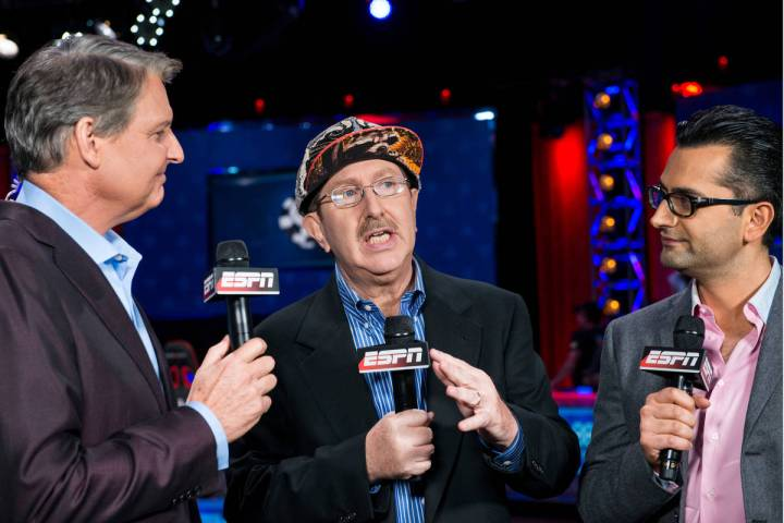 Lon McEachern, left, Norman Chad and Antonio Esfandiari. (WSOP)