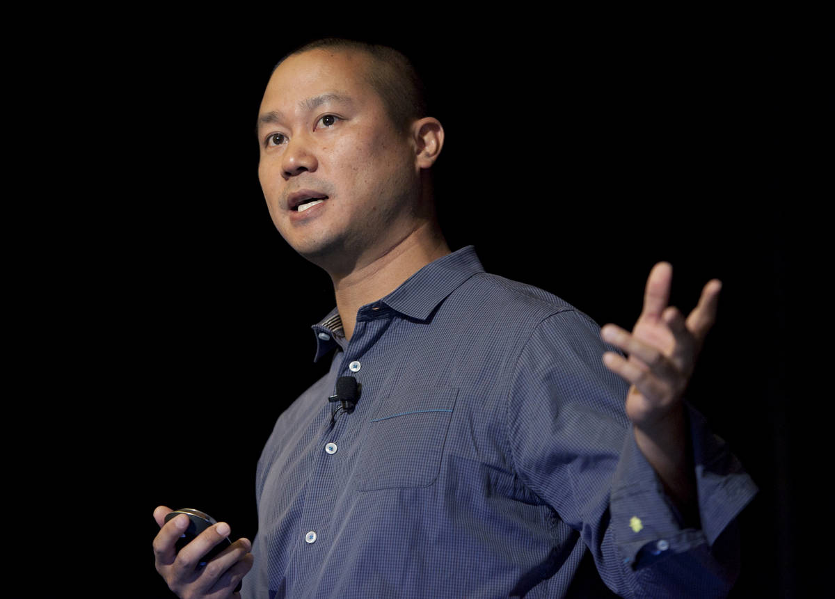 In this Sept. 30, 2013, file photo, Tony Hsieh speaks during a Grand Rapids Economic Club lunch ...
