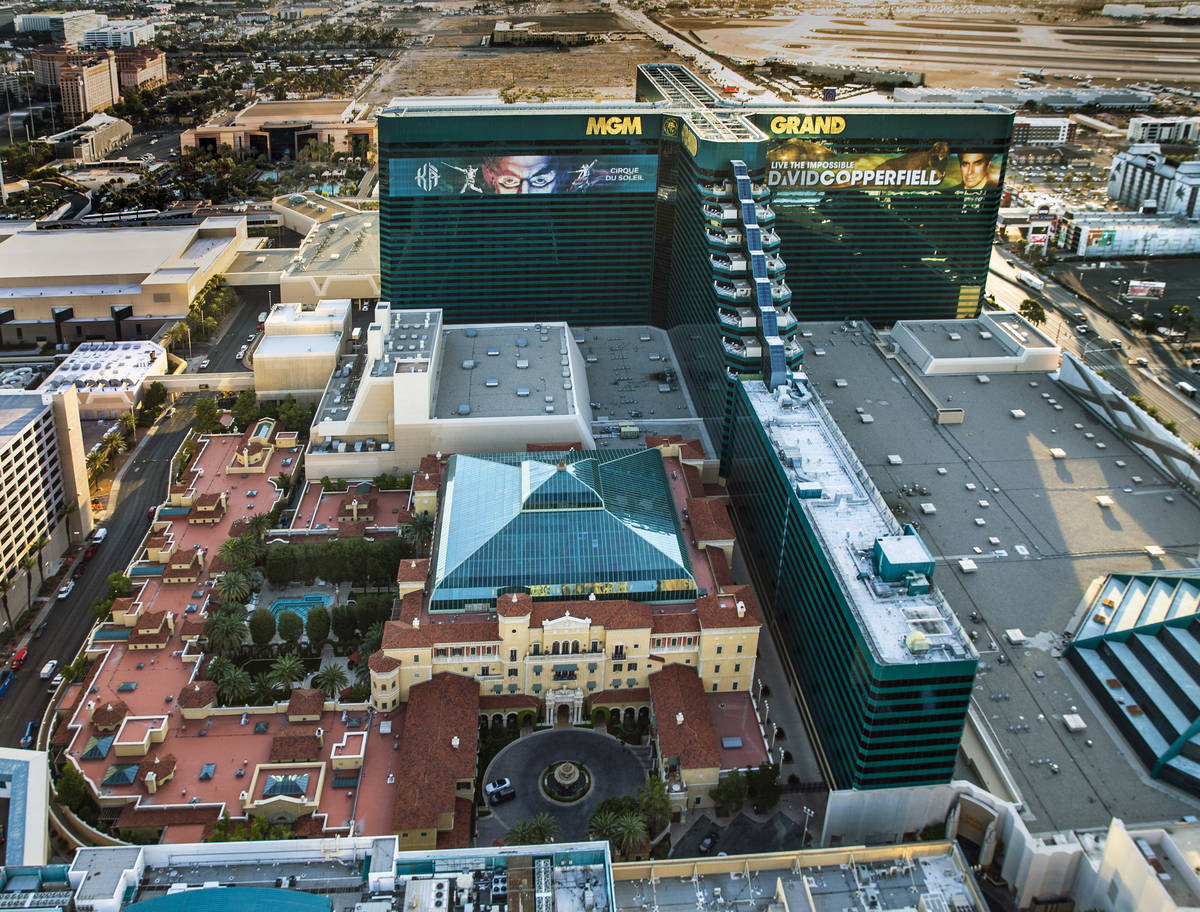 The Mansion at MGM and the MGM Grand on the Las Vegas Strip are seen in an aerial photo on Wedn ...
