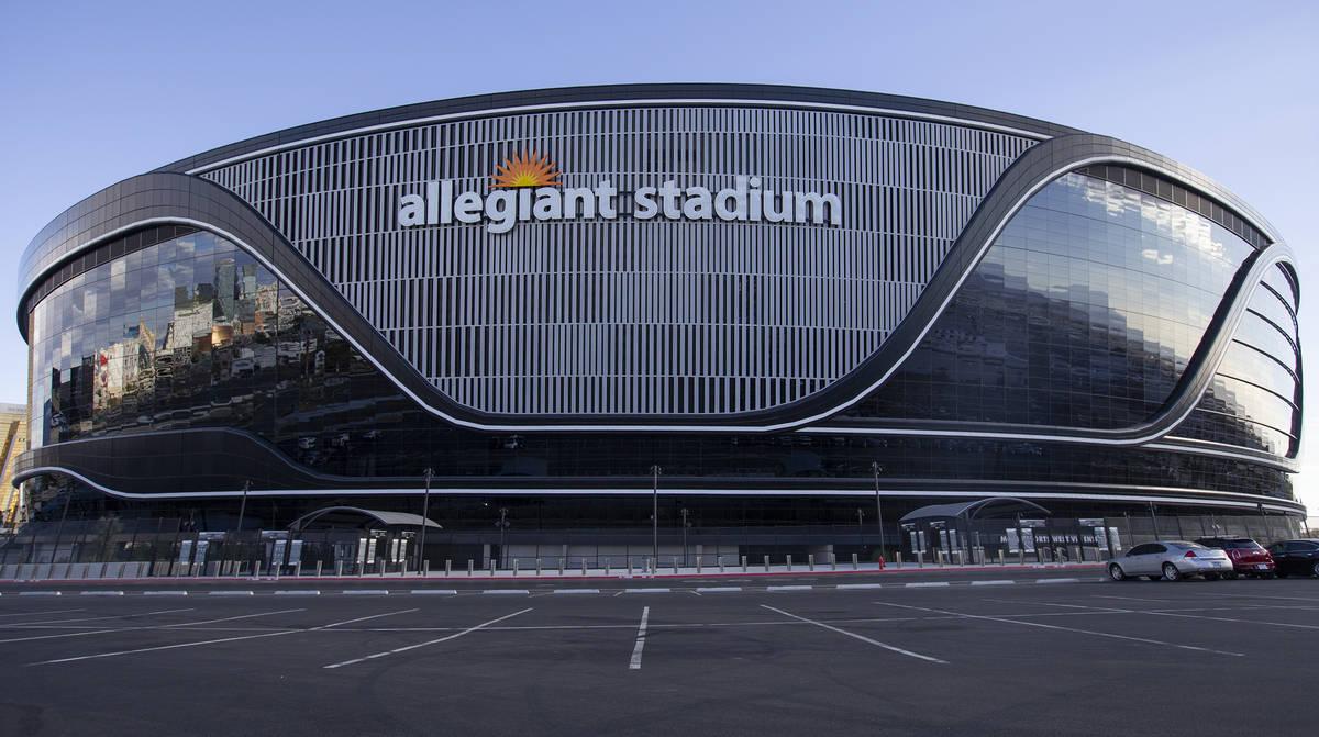 Allegiant Stadium is seen on Saturday, Dec. 12, 2020, in Las Vegas. (Ellen Schmidt/Las Vegas Re ...
