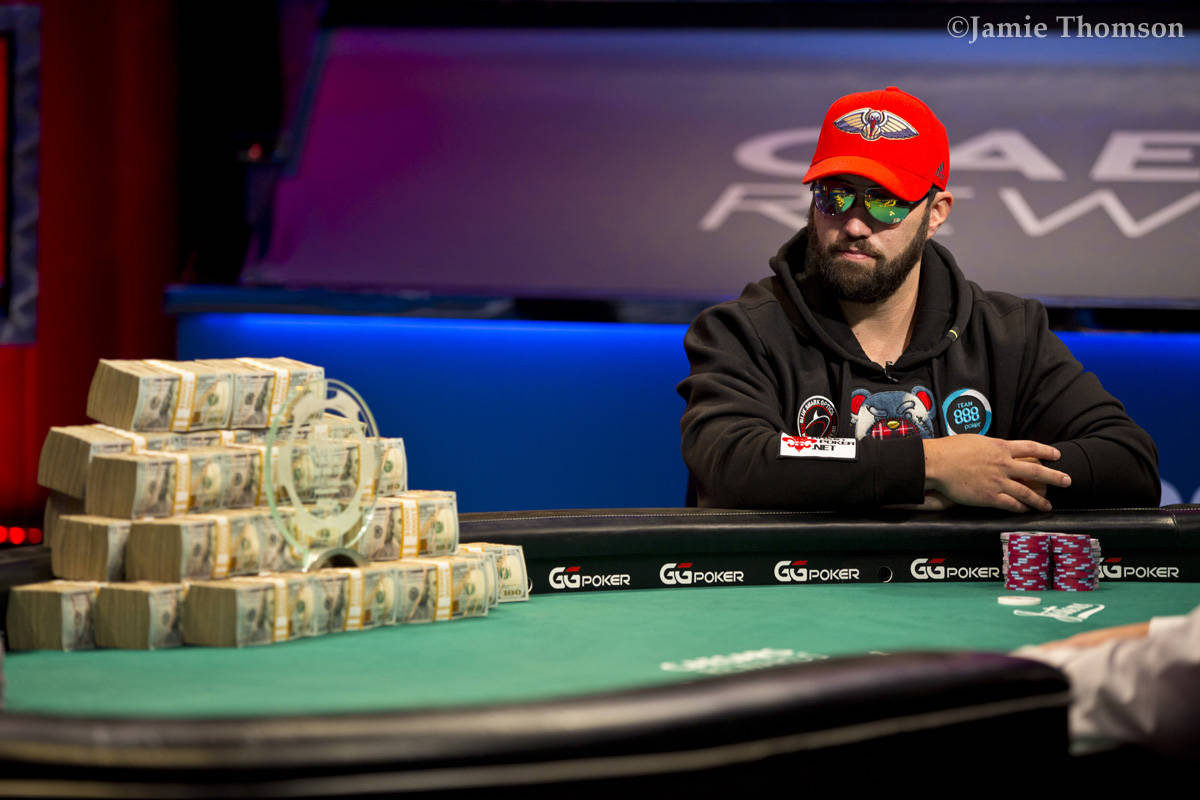 Joseph Hebert plays heads-up to win the U.S. portion of the World Series of Poker Main Event on ...
