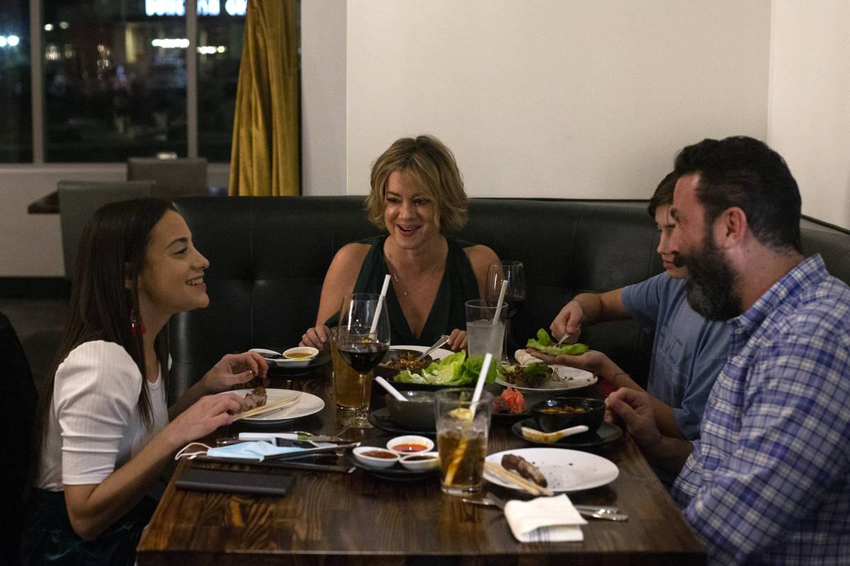 Alexandria Batteria, left, Annmarie Feiler, Ari Feiler and Andrew Feiler enjoy dinner at Chingl ...