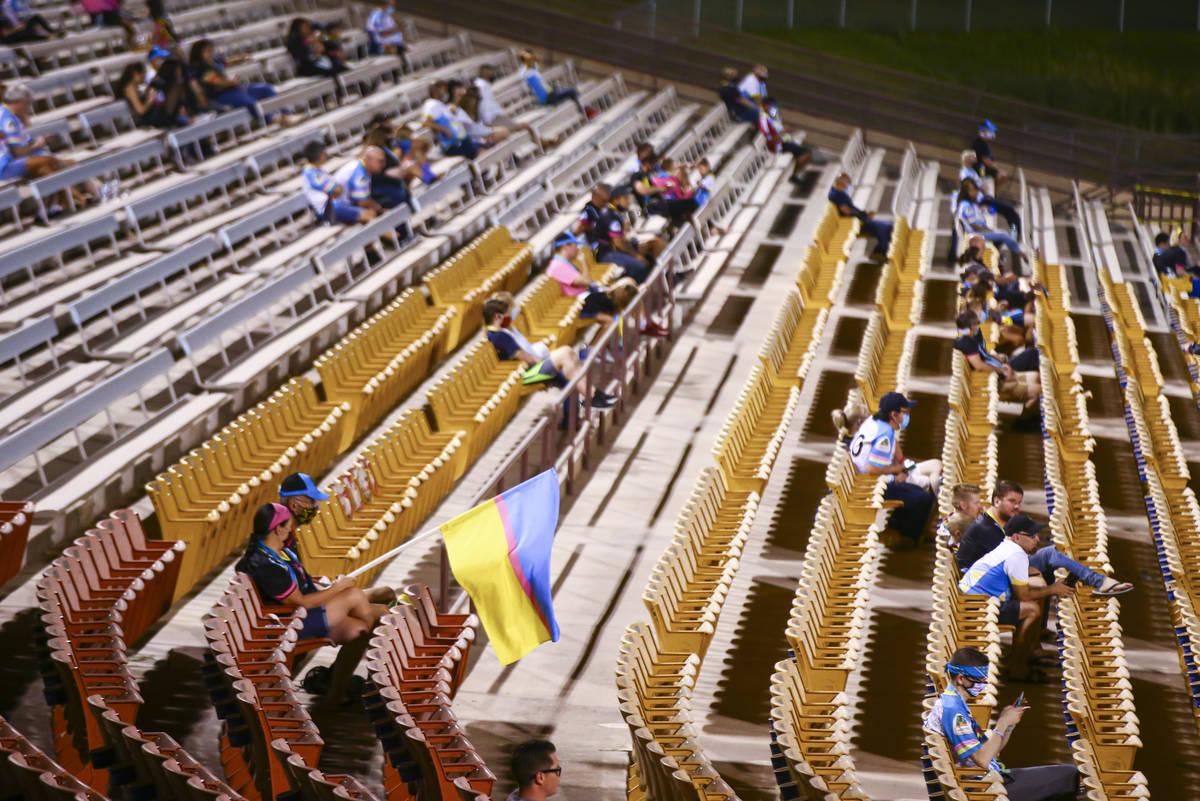 Las Vegas Lights FC fans watch the action during a USL Championship soccer game against Orange ...