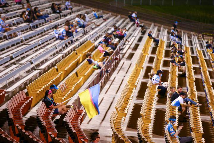 Las Vegas Lights FC fans watch the action during a USL Championship soccer game against Orange ...