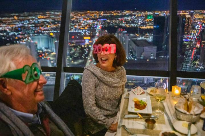Joe Davis, left, and Linda Davis dine at the Top of the World at the Strat, on Thursday, Dec. 3 ...