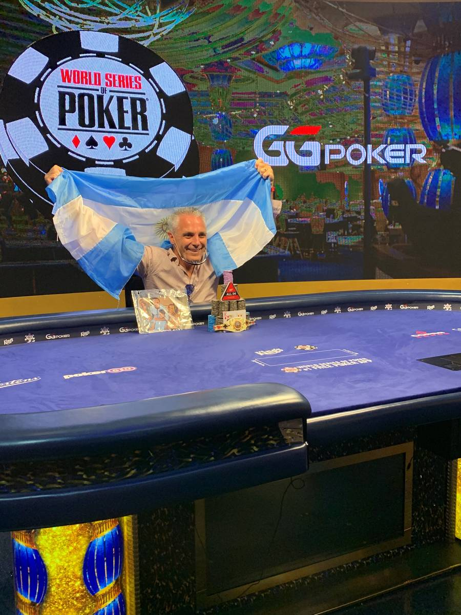 Damian Salas celebrates after winning the international portion of the World Series of Poker Ma ...