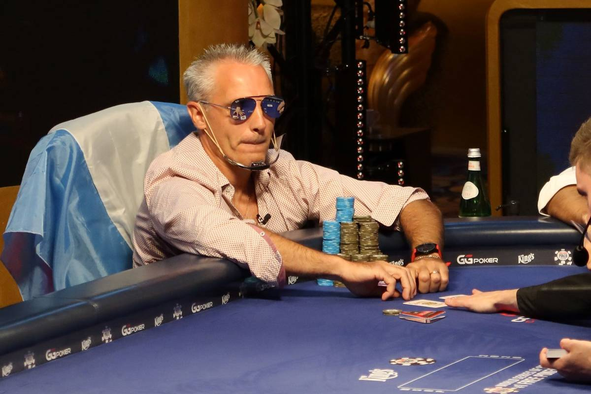 Damian Salas plays at the final table of the international portion of the World Series of Poker ...