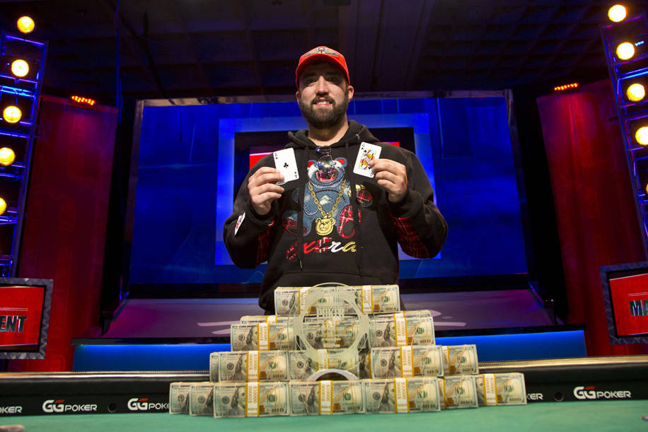 Joseph Hebert after winning the U.S. portion of the World Series of Poker Main Event on Monday, ...
