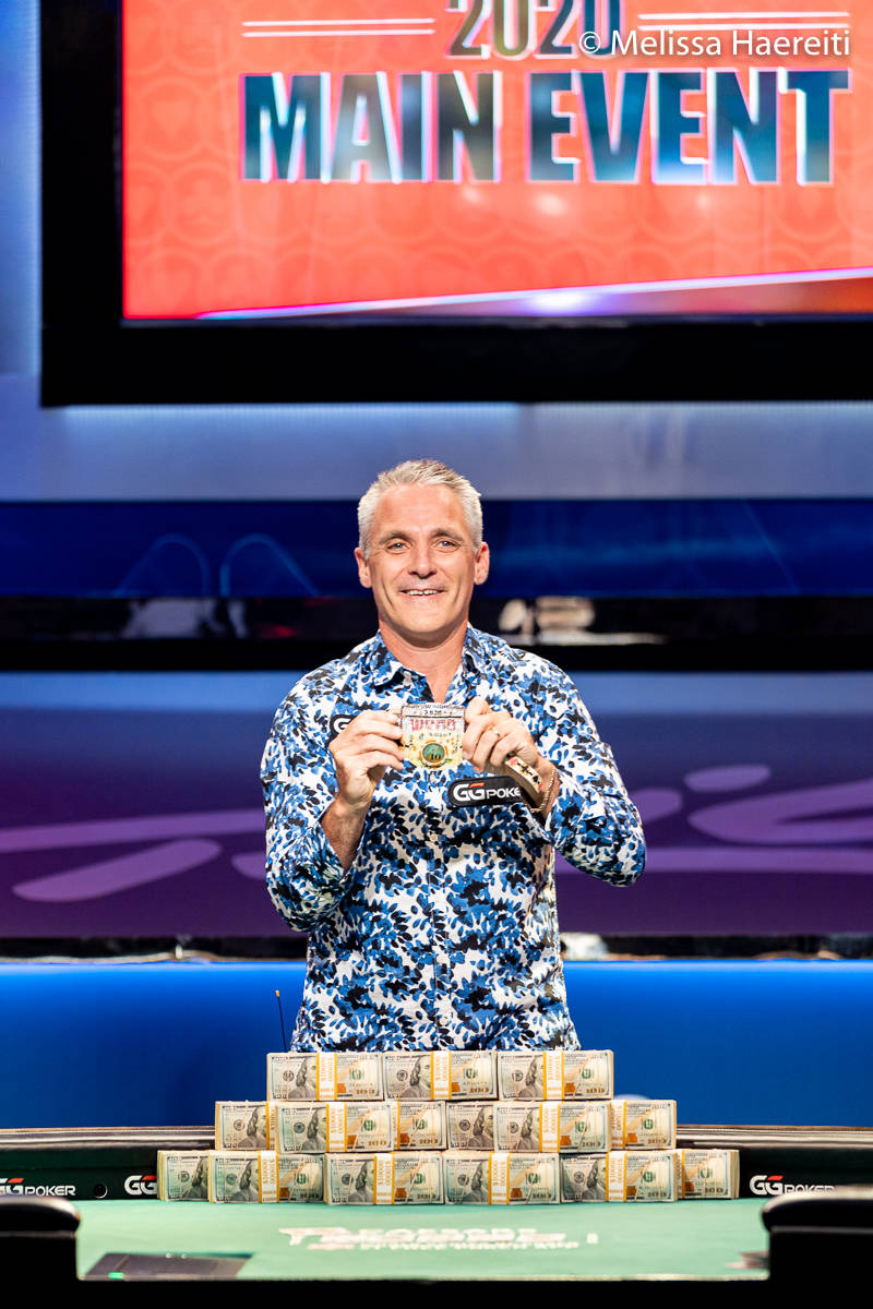 Damian Salas after winning the World Series of Poker Main Event title Sunday, Jan. 3, 2021, at ...