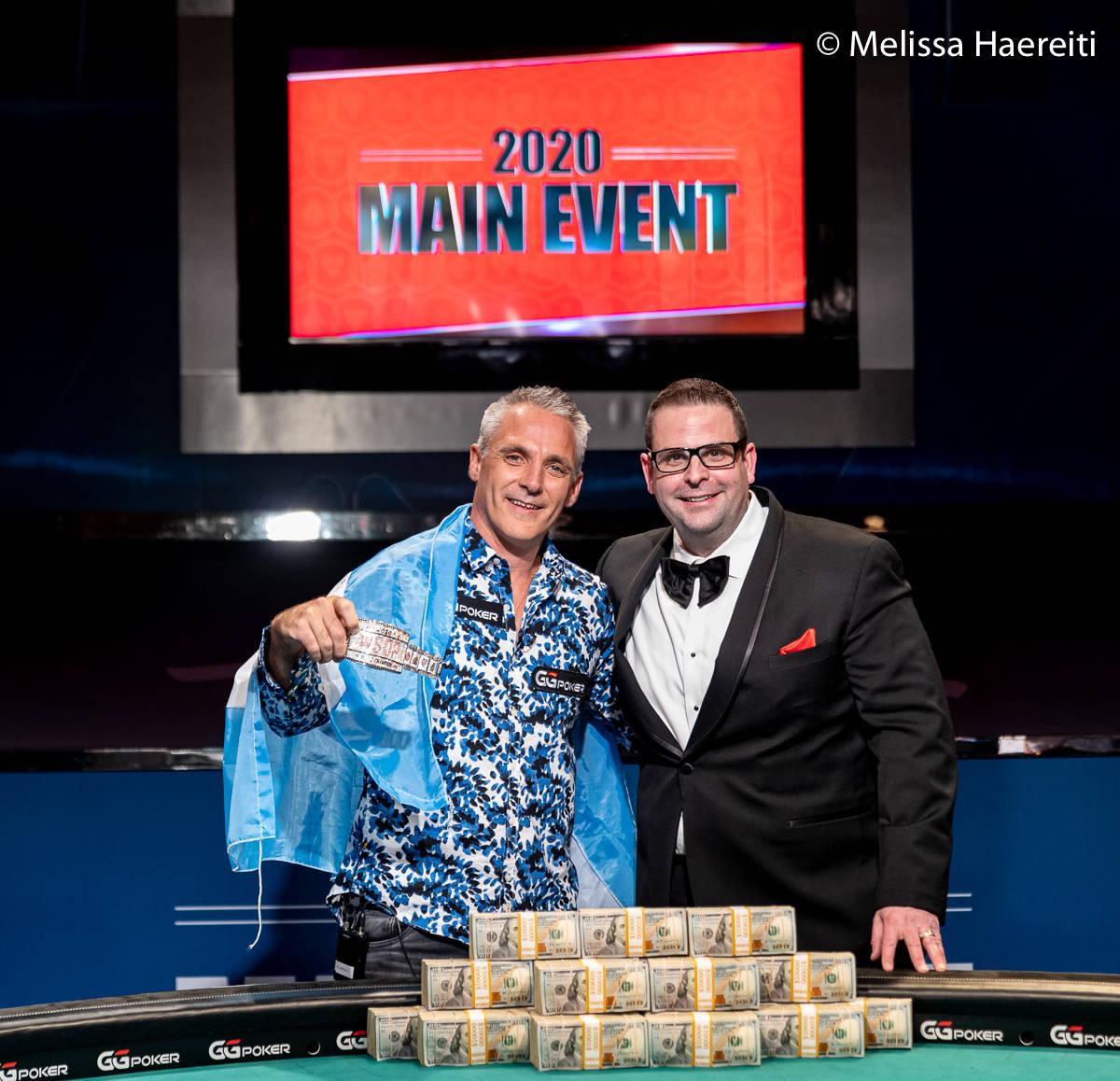 Damian Salas with WSOP vice president Jack Effel after winning the World Series of Poker Main E ...