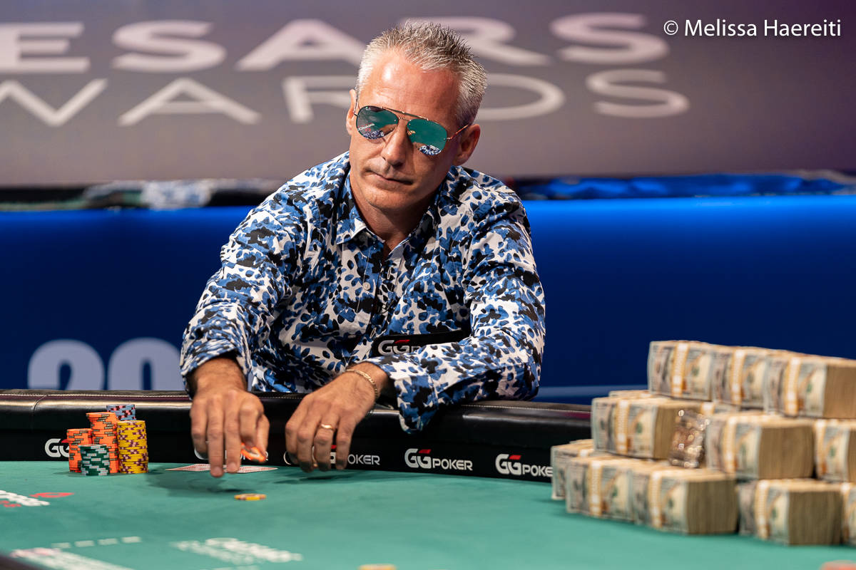 Damian Salas plays for the World Series of Poker Main Event title Sunday, Jan. 3, 2021, at the ...