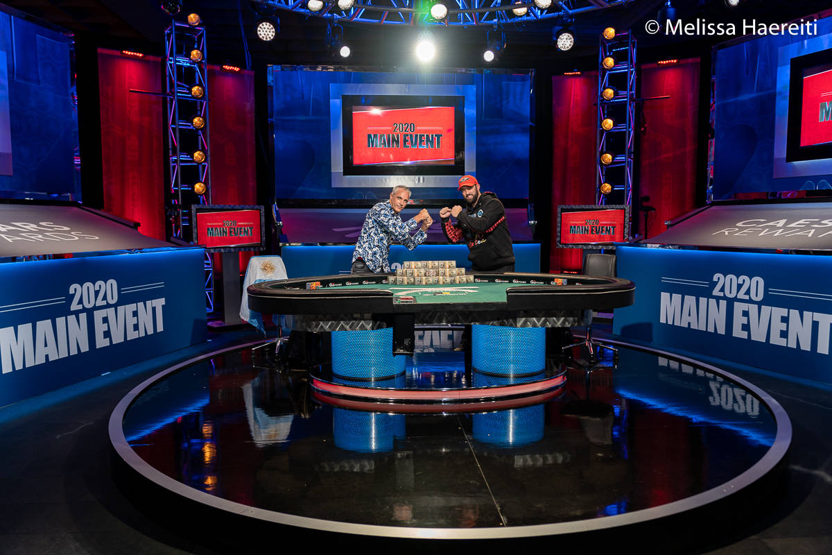 Damian Salas, left, and Joseph Hebert get ready to play for the World Series of Poker Main Even ...