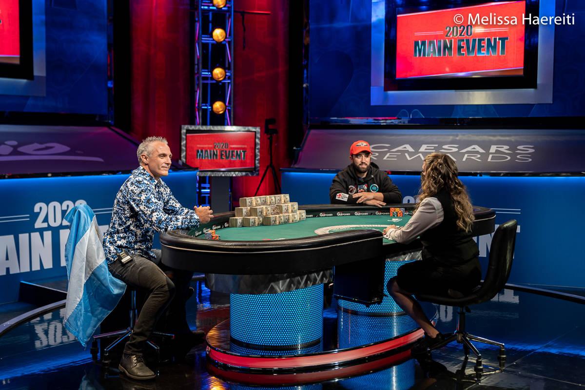 Damian Salas, left, and Joseph Hebert play for the World Series of Poker Main Event title Sunda ...