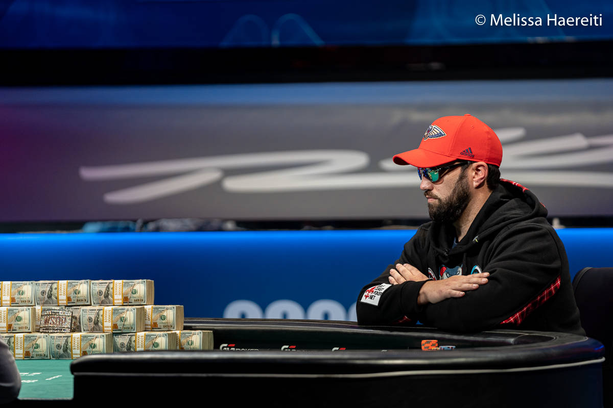 Joseph Hebert plays for the World Series of Poker Main Event title Sunday, Jan. 3, 2021, at the ...