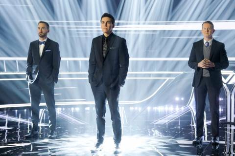"""From left, Brad Rutter, James Holzhauer and Ken Jennings star in ABC's """"The Chase."""" (Ron Batzdo ..."""