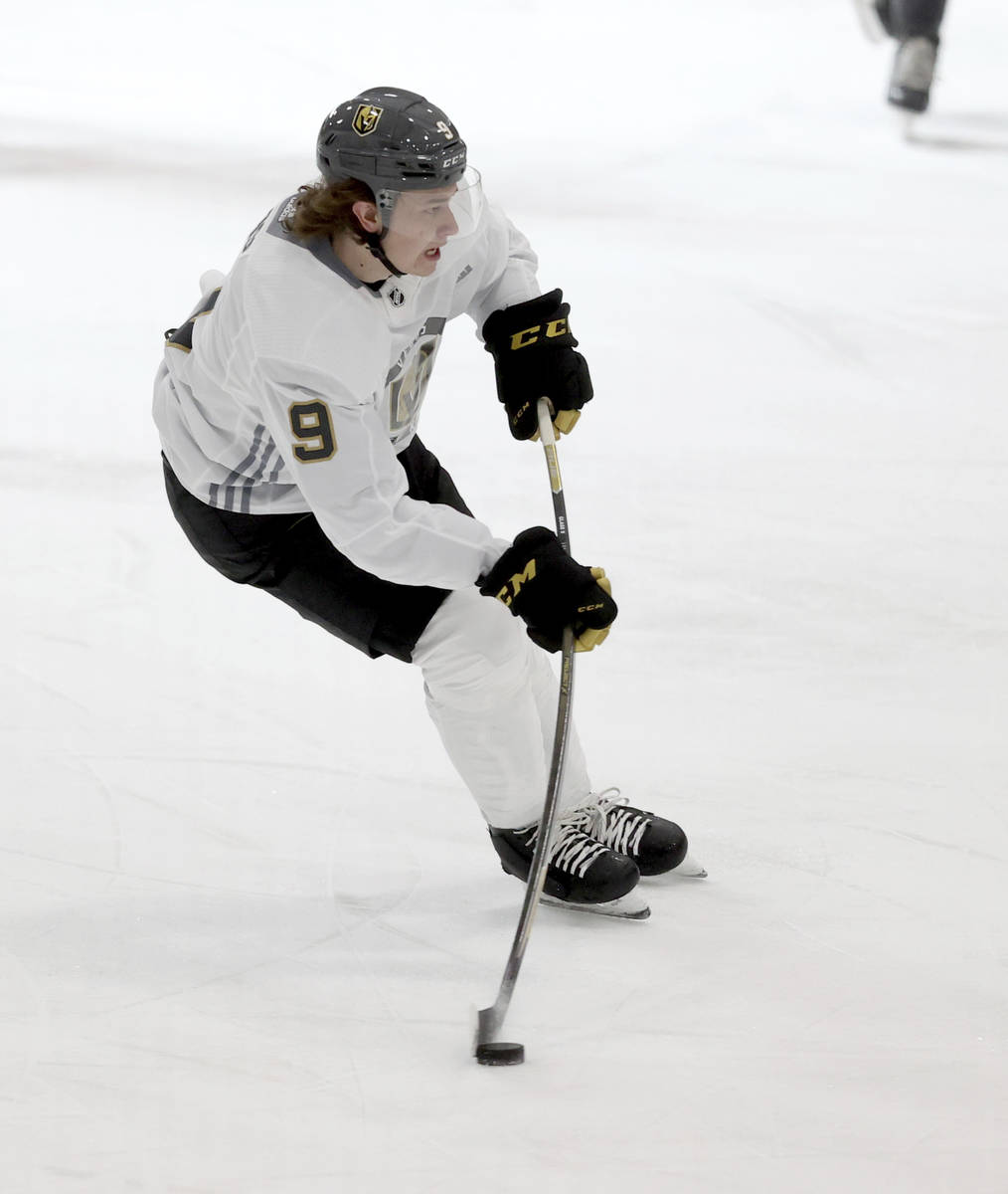 Vegas Golden Knights forward Cody Glass controls the puck during a scrimmage during NHL hockey ...