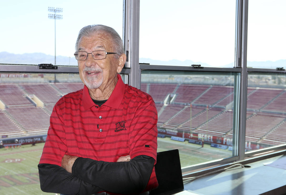 "The ""Voice of the Rebels"", Dick Calvert, smiles during an interview at Sam Boyd Stadi ..."