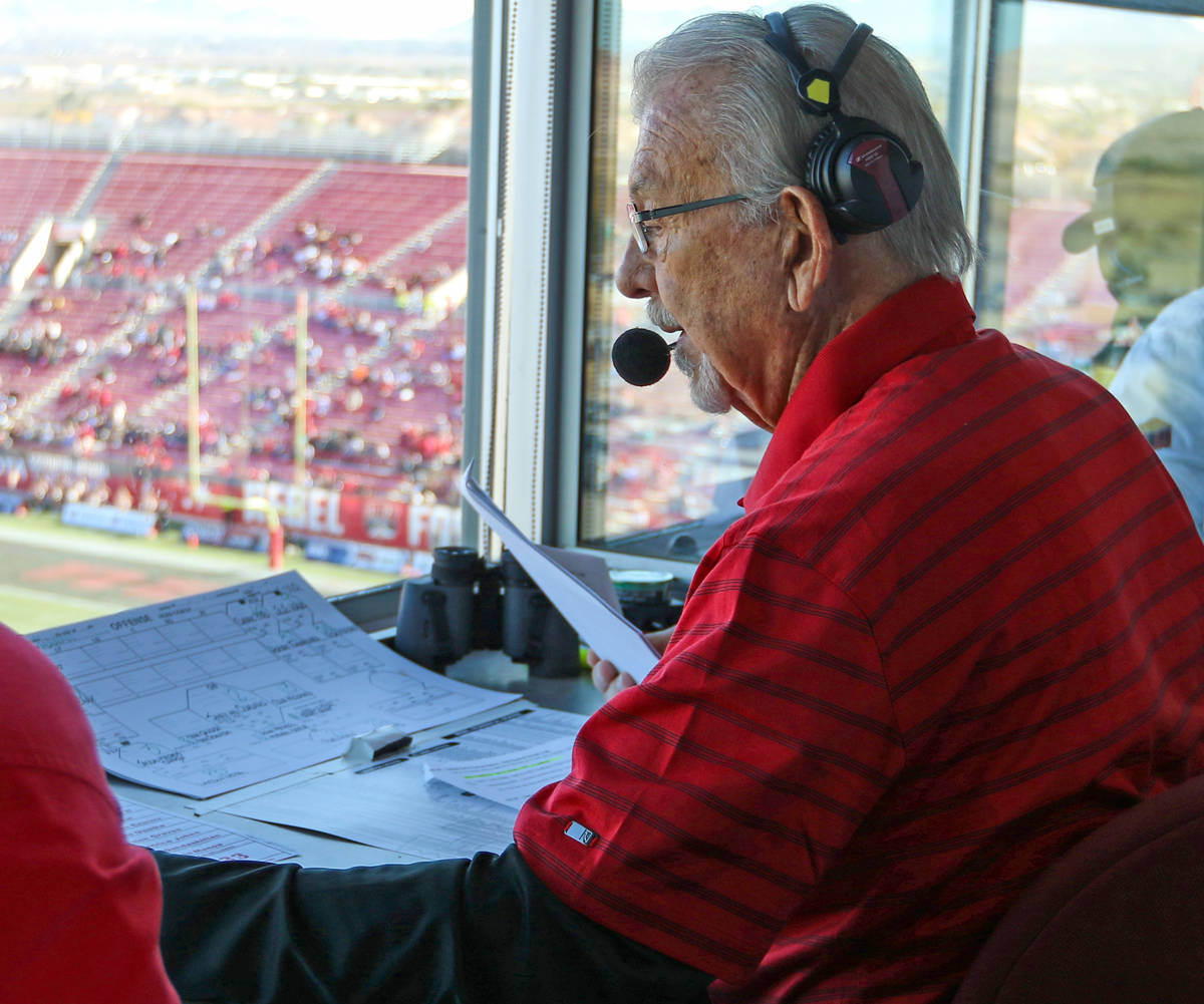 UNLV Rebels announcer, Dick Calvert, calls the action during the first half of a college footba ...
