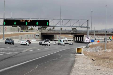 Nevada Department of Transportation tests a new Active Traffic Management sign on southbound U. ...