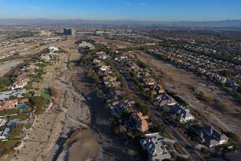 Aerial view of former Badlands golf course as seen from Hualapai Way in Summerlin on Wednesday, ...