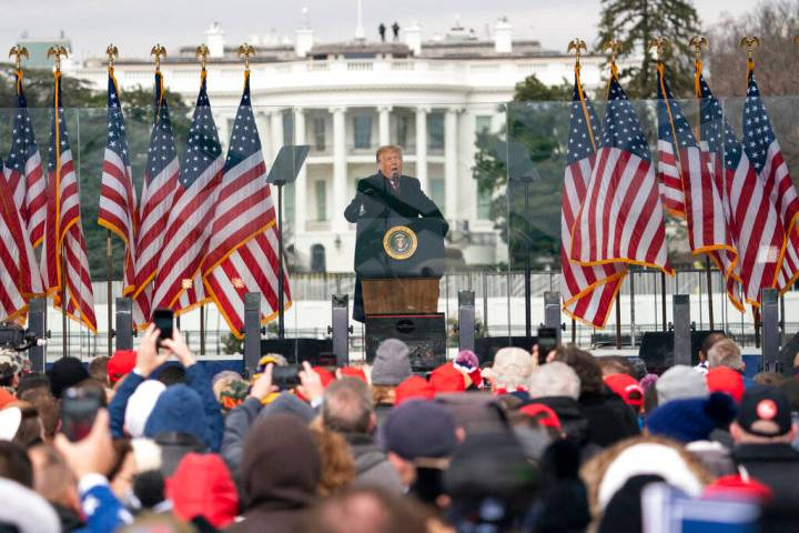 President Donald Trump speaks during a rally protesting the electoral college certification of ...