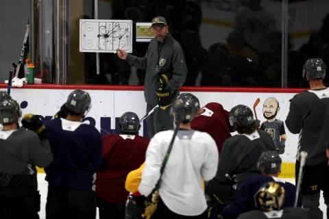 Golden Knights coach Pete DeBoer on the first day of training camp at City National Arena in La ...