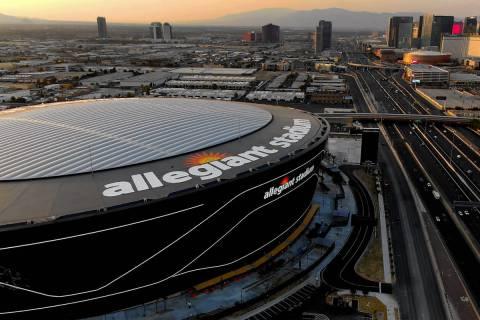 Aerial view of Allegiant Stadium and the Las Vegas Strip. (Michael Quine/Las Vegas Review-Journ ...