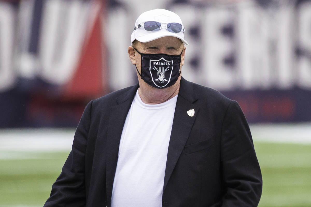 Las Vegas Raiders owner Mark Davis makes his rounds during warmups before the start of an NFL f ...