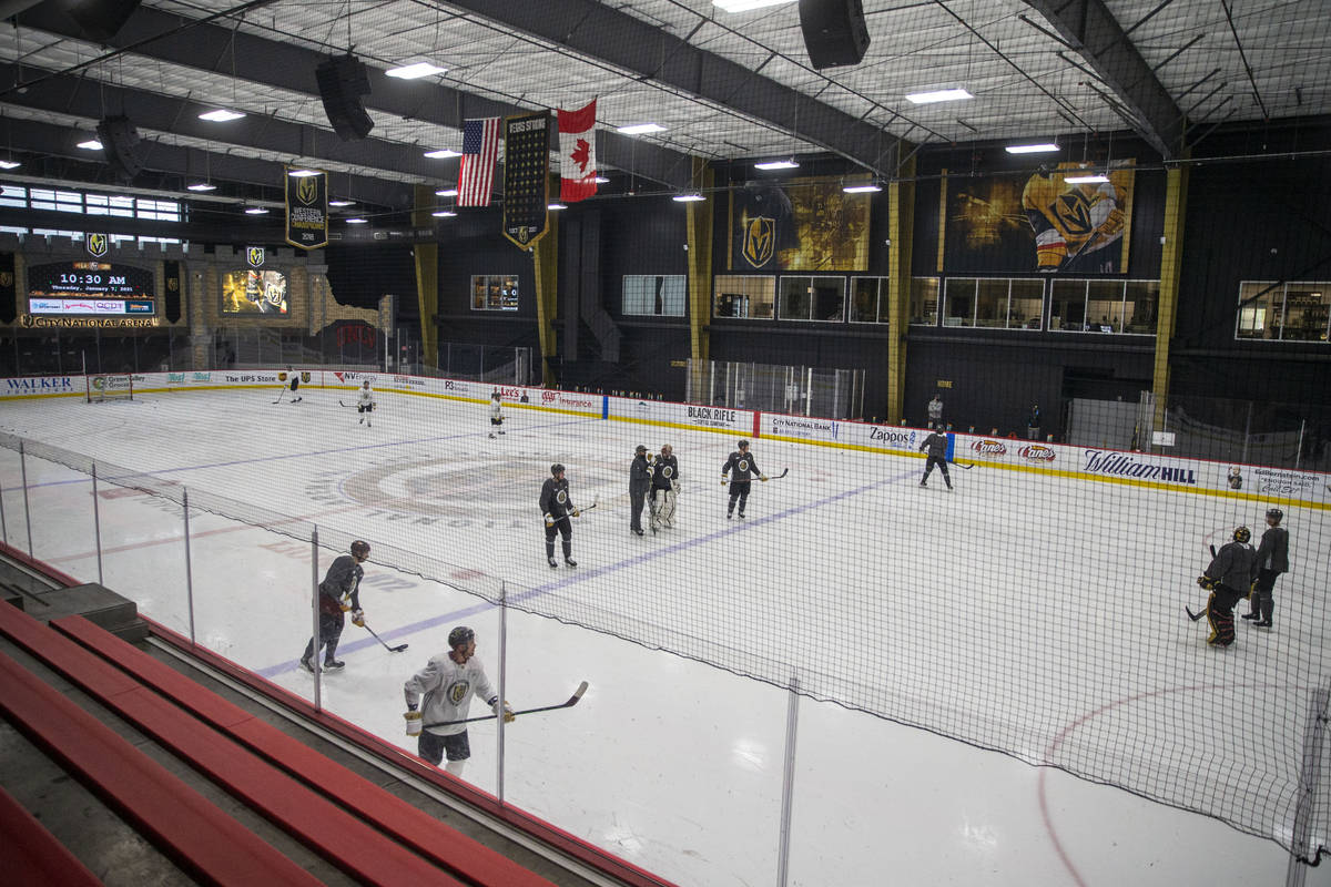 Golden Knights practice on Thursday, Jan. 7, 2021, at City National Arena in Las Vegas. (Heidi ...