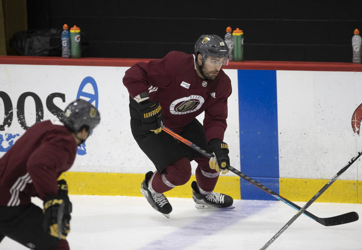 Golden Knights forward William Carrier (28) skates up ice during practice at City National Are ...