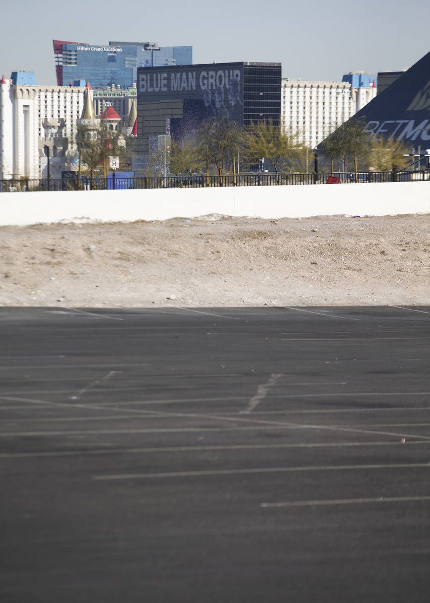The Las Vegas Strip is seen from the parking lot on the corner of Russell Road and Polaris Aven ...