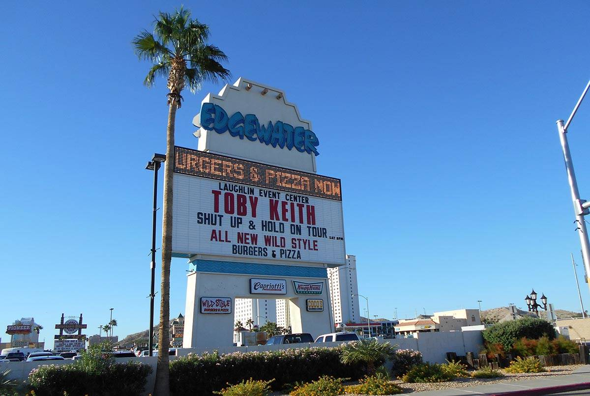 The marquee for the Edgewater hotel-casino, featuring a concert event with country music star T ...