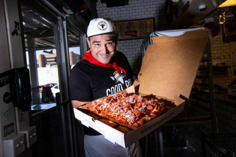 Good Pie owner Vincent Rotolo with a triple pepperoni Detroit style pizza. (Chase Stevens/Las V ...