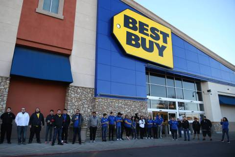 Best Buy employees prepare for Black Friday during a training event at 6455 N Decatur Blvd., in ...
