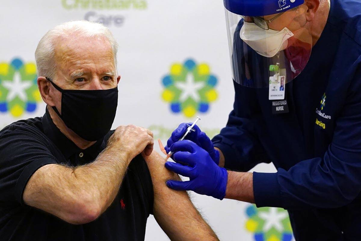 President-elect Joe Biden receives his second dose of the coronavirus vaccine at ChristianaCare ...