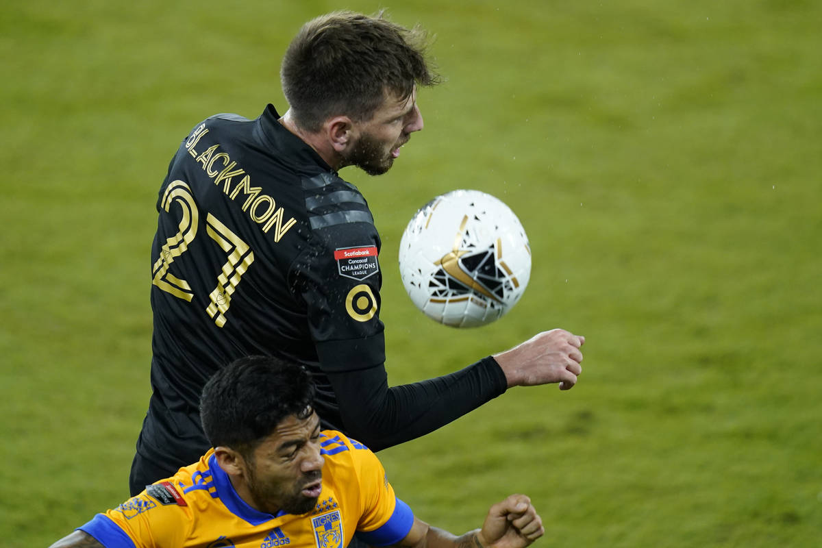 Los Angeles FC defender Tristan Blackmon (27) gets position on the ball in front of Tigres midf ...