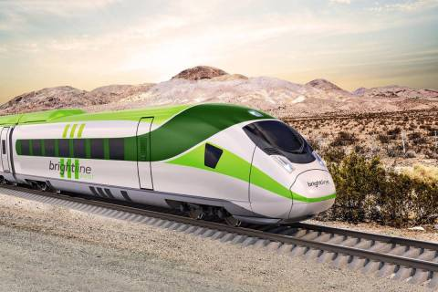 A drawing of a Brightline West train on Interstate 15 between Las Vegas and Los Angeles. (Brigh ...