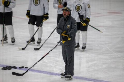 Golden Knights head coach Pete DeBoer shouts instructions during training camp on Wednesday, Ja ...