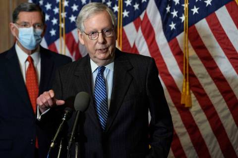 FILE - In this Tuesday, Dec. 15, 2020, file photo, Senate Majority Leader Mitch McConnell, of K ...