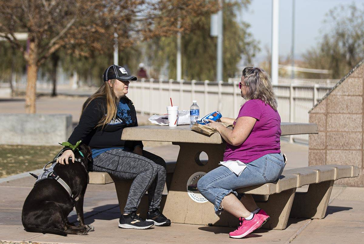Wendy Zimmer, left, relaxes with her dog Coco and her friend Lesley Miller at Cornerstone Park ...