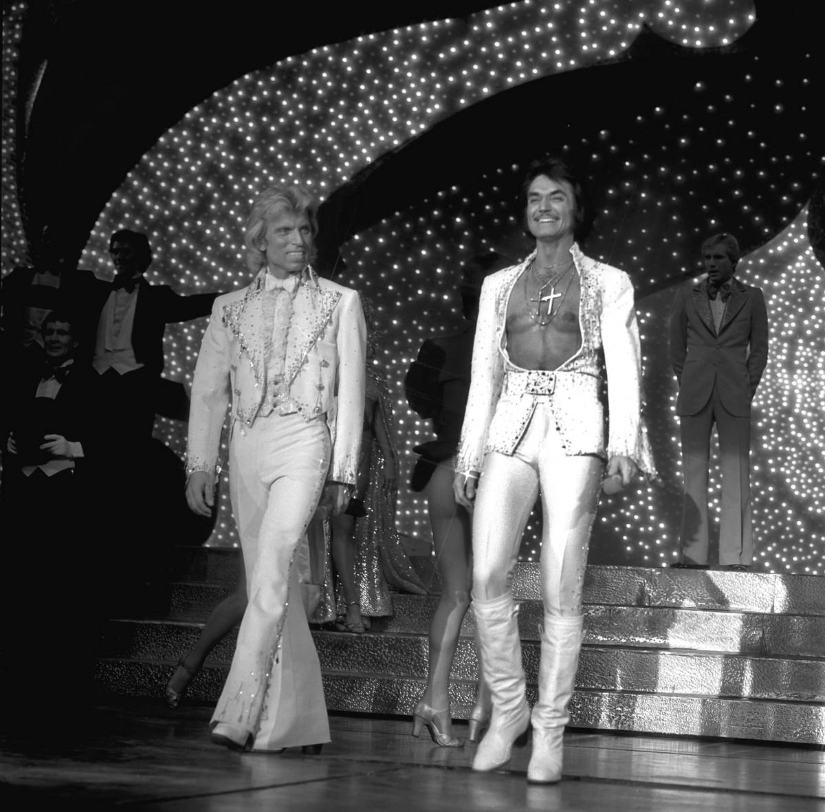 In this Oct. 3, 1980, file photo, Siegfried Fischbacher, left, and Roy Horn take the stage dur ...