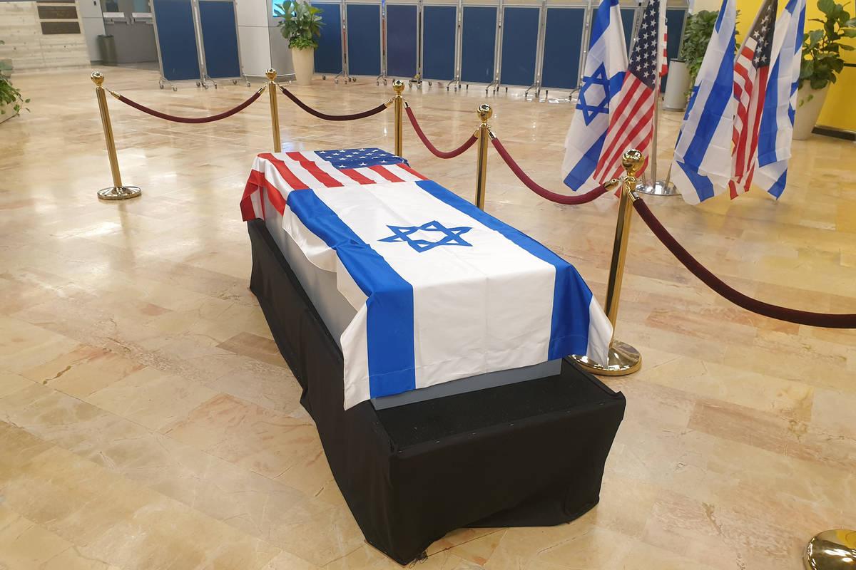 Sheldon Adelson's casket lies in repose at Ben Gurion International Airport in Tel Aviv, Israel ...